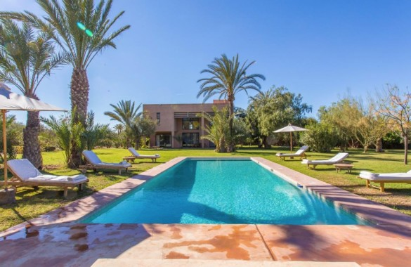 Contemporary villa in palm grove with a beautiful  mature garden and heated pool